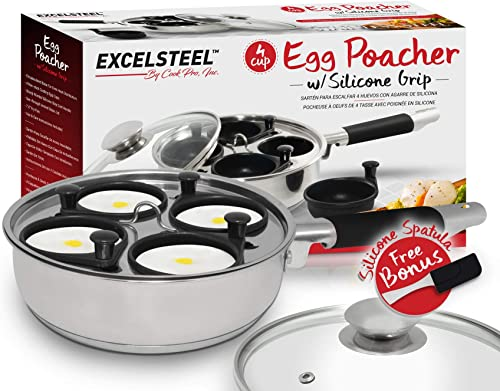 2021 Excelsteel 18/10 Stainless Steel 4 Cup Egg popular Poacher, Non Stick Easy Use online Rust Resistant Home Kitchen Breakfast Brunch Induction Cooktop Ready outlet online sale