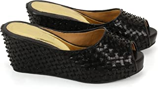 Anna Ricci Woven Leather Highly Embellished Wedge