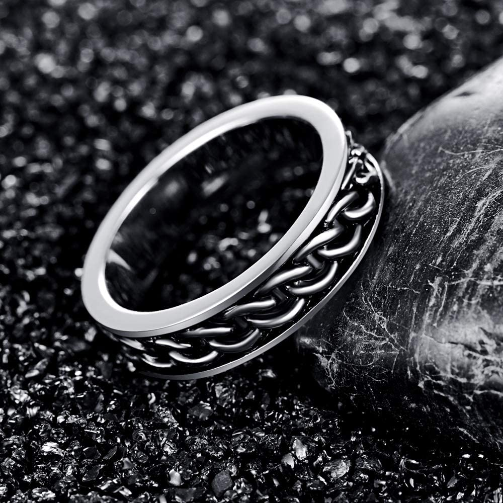 AVECON Mens Rings with Spinner Chain Celtic Knot Design 925 Sterling Silver Band Daily Ring with Gift Box for Him Comfort Fit