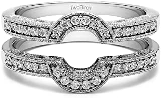 0.21 Ct. Filigree Millgrained Vintage Halo Ring Guard in Sterling Silver with Diamonds (G,I2)
