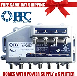 PPC Entry Series PPC-9M-U/U 9-Port Active Return Coax Cable Signal Amplifier Booster Splitter