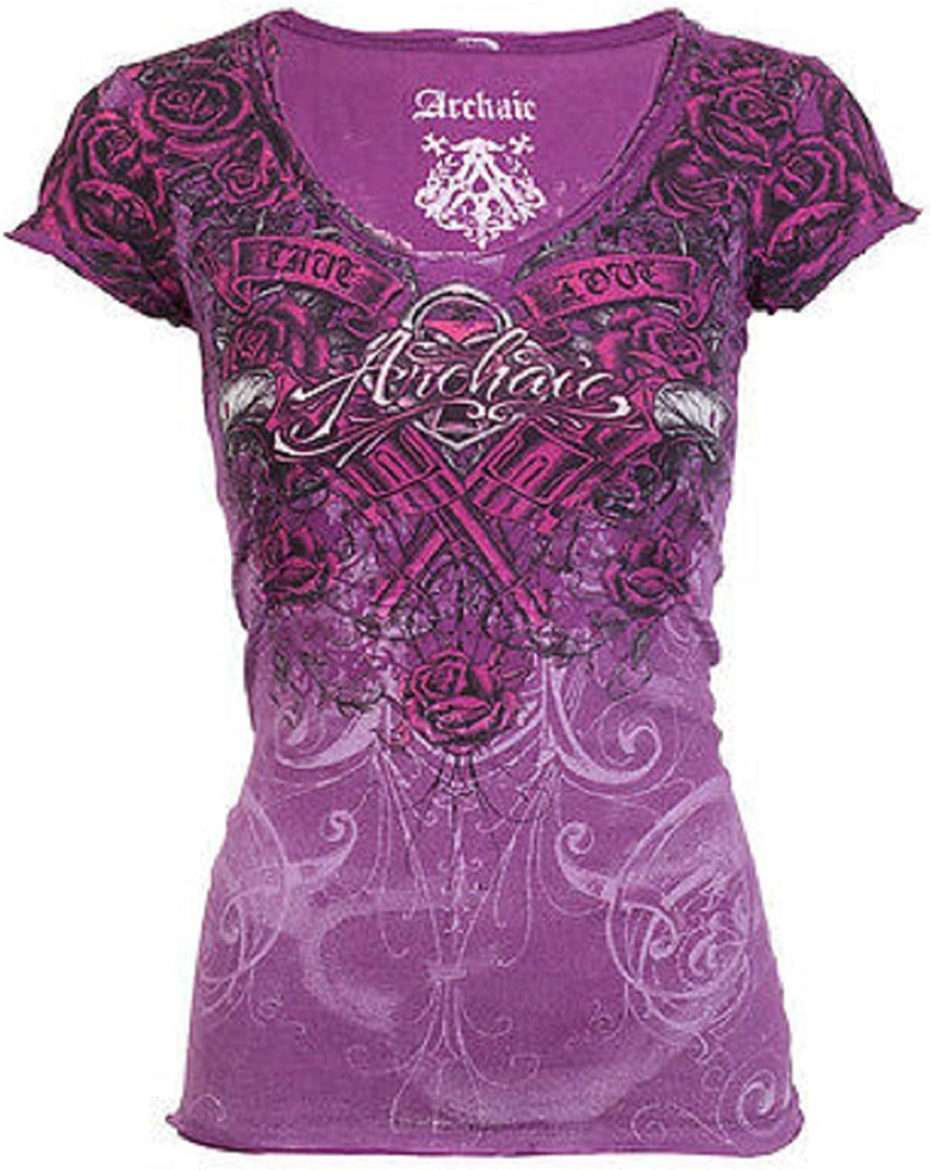 Affliction Archaic Women Cheap mail order specialty store T-Shirt Madame Charlotte Mall Roses S Biker Tattoo
