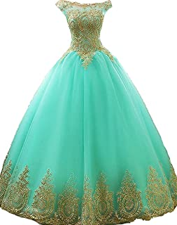Gold Lace Appplique Quinceanera Dresses Long Sleeves Prom Ball Gown BD389