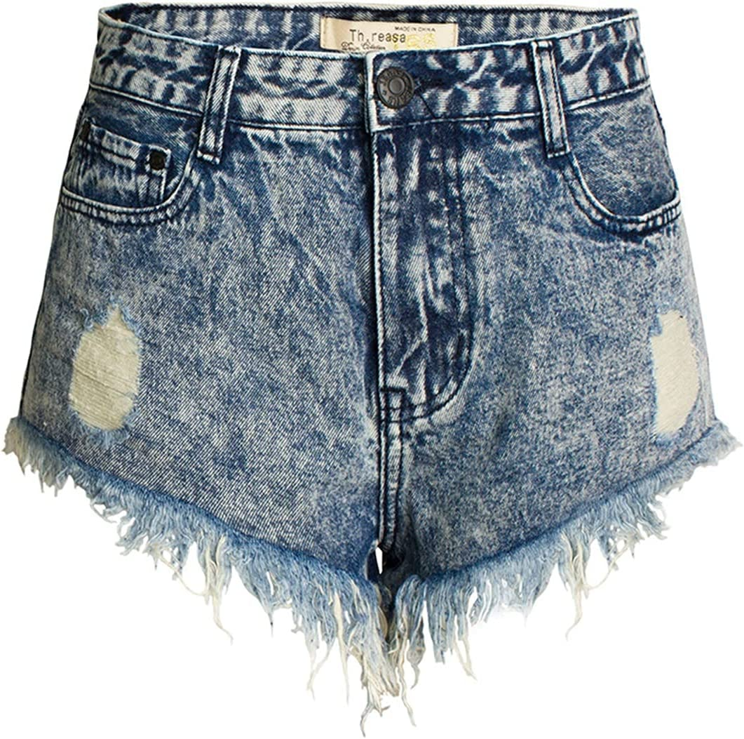 SBCDY Women's Destroyed Ripped Hole Denim Shorts Sexy Short Jeans Summer High Waist Denim Shorts Ripped Loose Denim Shorts Hot Pants with Rivets (Color : Black, Size : 34)