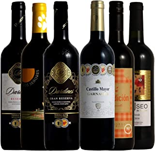 [Amazon限定ブランド] 厳選スペイン赤ワイン6本セット ソムリエ厳選 金賞入り 750ml×6
