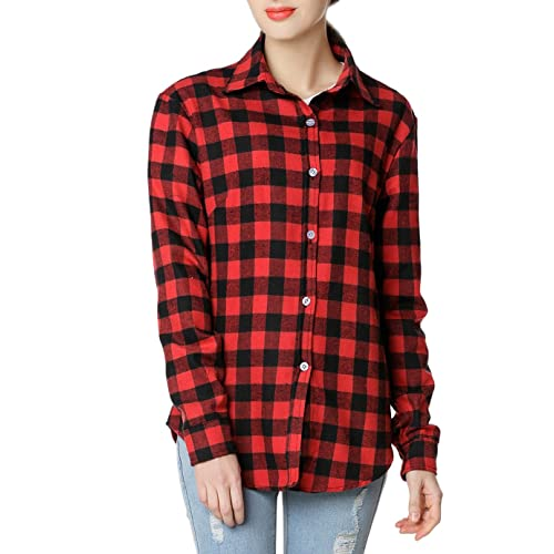 af230aef0 GUANYY Women's Long Sleeve Casual Loose Classic Plaid Button Down Shirt