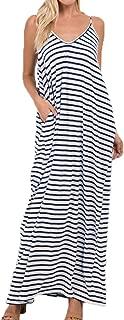 ZANZEA Women Strap Sleeveless Stripe V Neck Pockets Loose Casual Summer Beach Maxi Dress Sundress