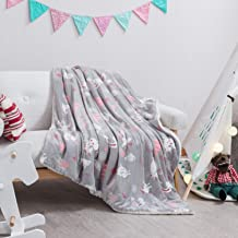 Bedsure Unicorn Sherpa Throw Blanket for Girls,Children and Women 50×60 inches Plush Fleece Throw Blanket for Bed, Sofa and Couch