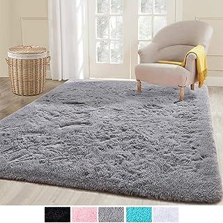 ECOBER Premium Velvet Fluffy Area Rug Plush Soft Carpet for Bedroom Living Room, Extra Comfy Furry Rugs Modern Solid Color Cute Carpets, 4x6 Feet Gray