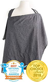 Nursing Cover with Sewn in Burp Cloth for Breastfeeding Infants | Free Matching Pouch | Best Apron Cover Up for Breast Feeding Babies | Covers Up Newborns in Public | 2017 Nappa Winner | Chambray