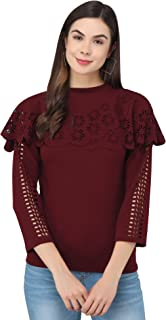 FUNDAY FASHION Women's Solid Full Sleeve Laser Cut Western Top
