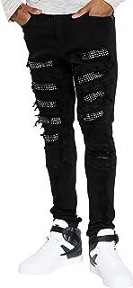 Men's Rhinestone Insert Skinny Jean - Black