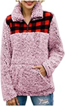 Gleamfut Womens Flannel Stitching Plaid Blouse Fashion Long Sleeve Pocket Pullovers Tops Sweater