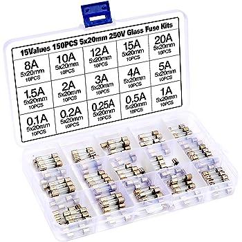 250tlg Sortiment Feinsicherung Glassicherungen 1-20A 5x20mm 6X30mm mit Box Set