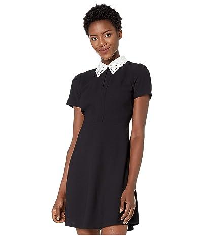 CeCe Short Sleeve Embroidered Collar Moss Crepe Dress (Rich Black) Women