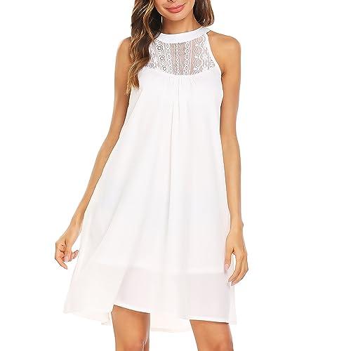 a8a4b976883 Gumod Women s Chiffon Dress Summer Sleeveless Lace Patchwork Halter Beach  Dress Sundress