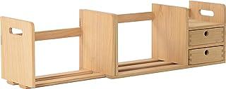 Organiseur de bureau en bois entièrement assemblé – Étagère à livres réglable avec tiroirs – Station de rangement extensib...