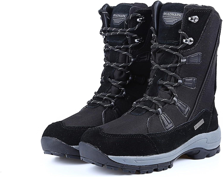 Winter sports outdoor snow boots women's tube plus cashmere warm waterproof snow anti-skid hiking shoes ski shoes cotton shoes ( color   Black , Size   9B(M)US )