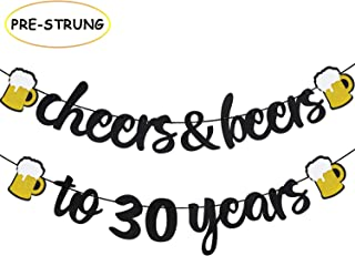 Joymee Cheers & Beers to 30 Years Black Glitter Banner for 30th Birthday Wedding Aniversary Party Supplies Decorations - PRESTRUNG (Cheers & Beers to 30th Years)