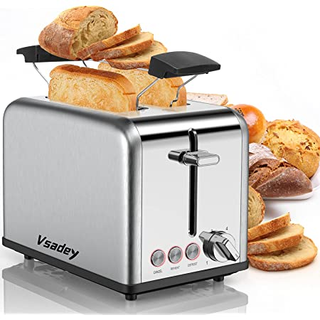 Vsadey Grille-Pain 815W, Toaster Vintage en Acier Inoxydable, avec 2 Fente Toaster, Étagère Chauffante, Tiroir à miettes Amovible, 6 Niveaux de Brunissage, DEFROST/REHEAT/CANCEL, pour Pain & Croissant