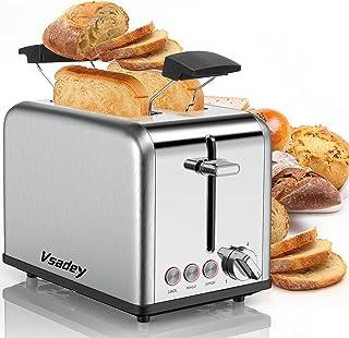 Vsadey Grille-Pain 815W, Toaster Vintage en Acier Inoxydable, avec 2 Fente Toaster, Étagère Chauffante, Tiroir à miettes A...