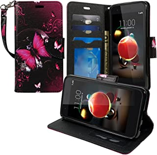 LG Tribute DYNASTY Case, LG Aristo 2, LG Rebel 3, LG Zone 4 Wallet Cover Pouch Flip Folio [Kickstand Feature] PU Leather Cover w/ ID&Card Slot Wrist Strap by Zase (Hot Pink Butterfly)