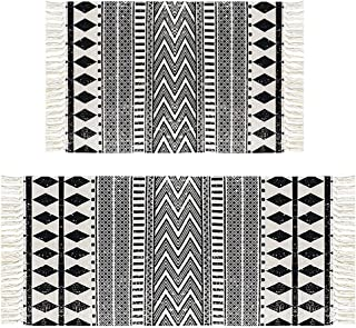 HEBE Cotton Area Rug Set 2 Piece 2`x3`+2`x4.2` Machine Washable Black and Cream White Hand Woven Cotton Rug with Tassels C...