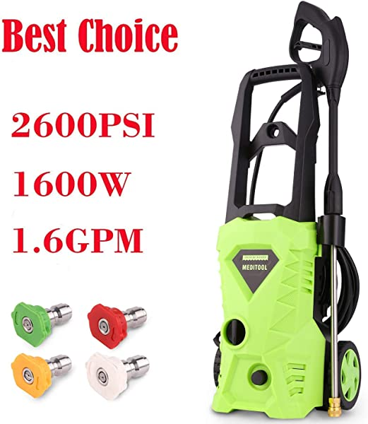 Homdox Power Washer 2600 PSI Electric Pressure Washer 1 6 GPM High Pressure Washer With Power Nozzle Gun And Spray Gun For Car Garden Patio Green