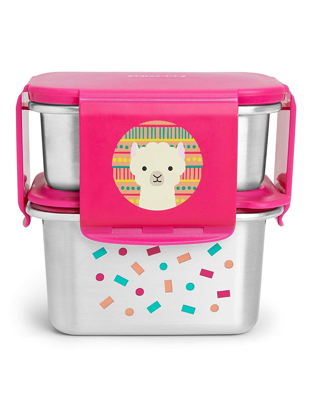 Skip Hop Toddler Stainless Steel Lunch Box Kit, Zoo, Llama