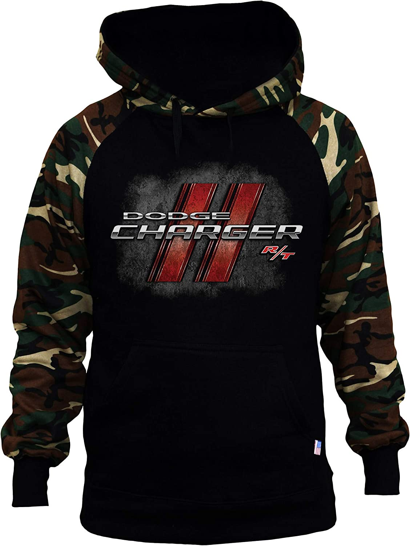 Men's Dodge Charger Black/Camo Raglan Baseball Hoodie Black