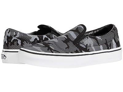 Vans Kids Classic Slip-On (Big Kid) ((Pattern Camo) Black/True White) Boys Shoes