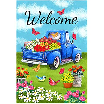 Country Blue Truck American Flag Summer FREE Ship from NC Garden Flag New