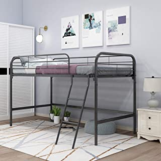 JURMERRY Loft Twin Bed, Single Bunk Bed with Sturdy Steel Frame, High Sleeper Multipurpose Use Full-Length Guardrails & One Integrated Ladders Space- with Strong Board Slats (Black Silver)
