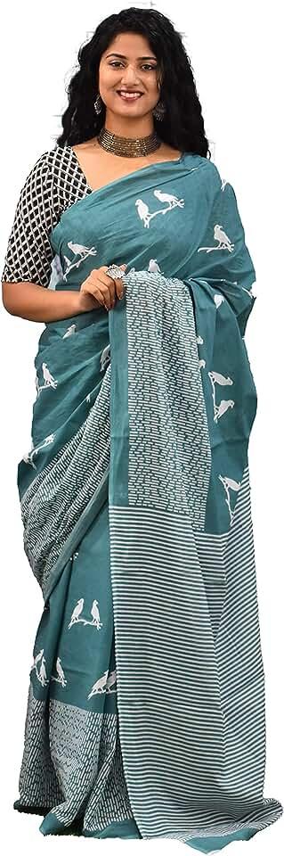 Indian Women's Ikat Cotton Saree With Blouse Piece (G4_Multicolour) Saree