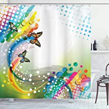 Ambesonne Colorful Shower Curtain, Trippy Flying Butterflies with Colored Comet Bubbles Creative Design, Cloth Fabric Bathroom Decor Set with Hooks, 84 Long Extra, White Green