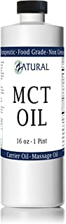 MCT Oil, Food and Therapeutic Grade, Carrier Oil, Massage Oil, Hydrating Oil, Hair Oil, 0 Additives, Pure MCT Oil (16 Ounce)
