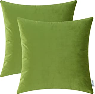 CaliTime Pack of 2 Cozy Throw Pillow Covers Cases for Couch Sofa Bed Solid Ultra Soft Gorgeous Velvety Faux Cashmere 20 X 20 Inches Olive Green