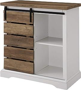 WE Furniture AZF32ALSDRO Buffet, 81 cm, massives Weiß/rustikales Eichenholz