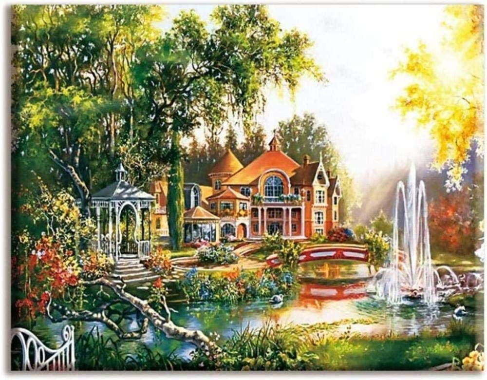 Stamped SEAL limited product Cross Stitch In stock Kits - Embroidery-Castle Fountain Beginners