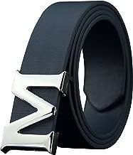 ALAKA Leather Mens Belts Removable Letter M Plate Buckle Waist Belt 1.29