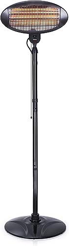 Tristar Chauffage de Terrasse KA-5287 - Radiant Infrarouge Quartz - Puissance et Hauteur Réglables - 2000 W max