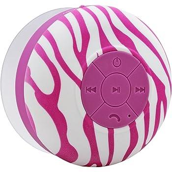 Aduro AquaSound WSP20 Shower Speaker, Portable Waterproof Wireless Bluetooth Speaker (Purple Zebra)