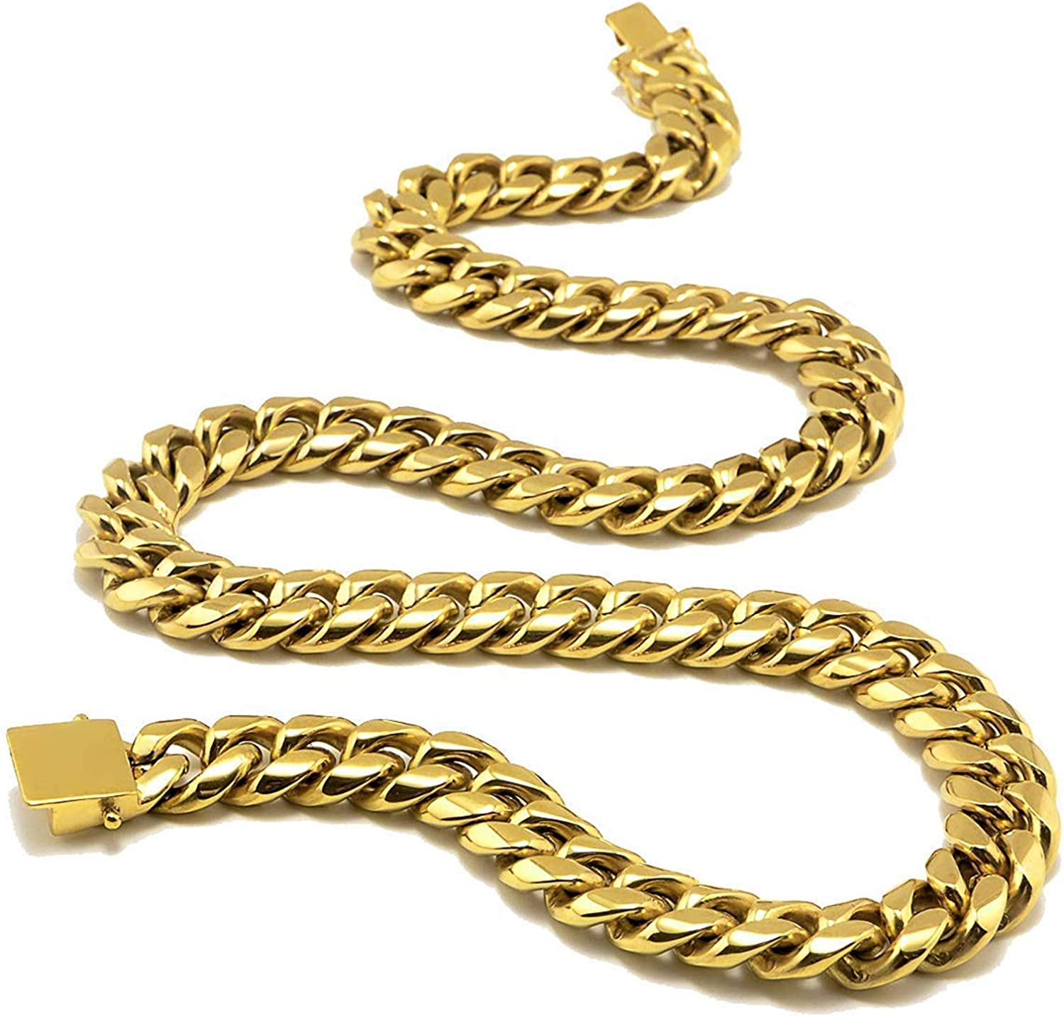Dubai Collections 14mm Curb Link Gold Cuban Miami Link Chain Necklace For Men Real 24k Karat Diamond Cut Heavy Titanium Plated Solid Thick Clasp Us Made 22 24 26 22 0 Amazon Com