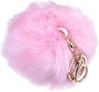 1Pcs Pom Poms Keyring Fluffy Keyring Balls Bag Pendant Keychain Cell Phone Charm Key Chain Pink