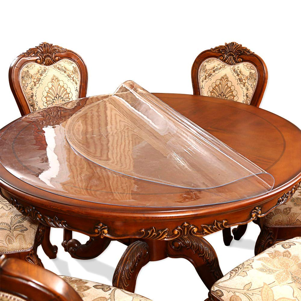 9 Inch 9ft Round Clear Dining Table Protector Tablecloth Cover Desk Top  Pad Mat for Glass Furniture Study Coffee Marble End Bed Sofa Side Bistro  Bar ...