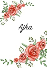 Ajka: Personalized Notebook with Flowers and First Name – Floral Cover (Red Rose Blooms). College Ruled (Narrow Lined) Journal for School Notes, Diary Writing, Journaling. Composition Book Size