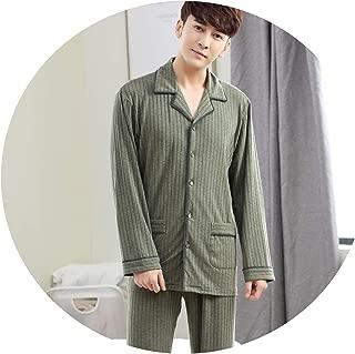Spring High-Grade Pure Color Mens Pyjama Sets Lounge Wear Comfortable Knited Sleepwear Homewear