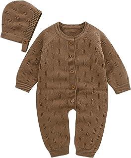 Haokaini Baby Kleinkind Mädchen Strick Strampler Mütze Set Neugeborenen Aushöhlung Strick Overall Mütze für Den Frühling Sommer