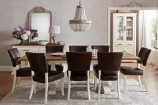 Everhome Designs - Washington 9 Piece Rustic Oak Two-Tone Extension Dining Table Set