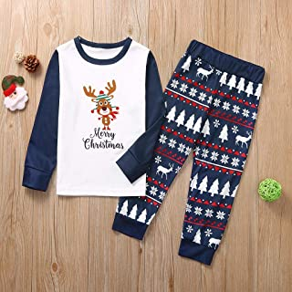 Matching Family Christmas Pajamas Cute Reindeer Letter Print T Shirts and Xmas Tree Graphic Pants Sets